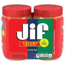 Jif Peanut Butter, Creamy, Twin Pack