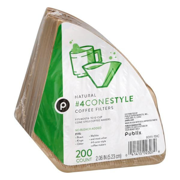 Publix Coffee Filters, No. 4 Cone-Style, Natural