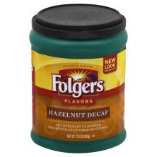 Folgers Flavors Coffee, Ground, Hazelnut, Decaf