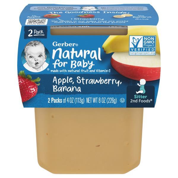 Gerber 2nd Foods Apple Strawberry Banana, Sitter, 2 Packs