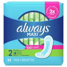 Always Pads, Maxi, Without Wings, Size 2 (Long Super)