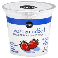 Publix Yogurt, Lowfat, No Sugar Added, Strawberry