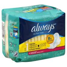 Always Fresh Pads, Ultra Thin, with Flexi-Wings, Regular, Clean Scent, Size 1