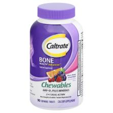 Caltrate 600 + D3 Plus Minerals, 2 in 1 Dual Action, Chewable Tablets, Cherry/Orange & Fruit Punch