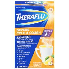 Theraflu Severe Cold & Cough, Nighttime, Honey Lemon, Packets