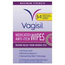 Vagisil Medicated Wipes, Anti-Itch, Maximum Strength