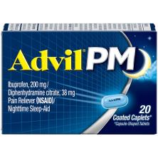 Advil PM Pain Reliever (NSAID)/Nighttime Sleep-Aid, Coated Caplets