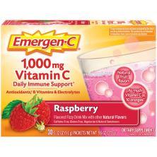 Emergen C Vitamin C, 1,000 mg, Fizzy Drink Mix, Raspberry