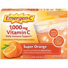 Emergen C Vitamin C, 1,000 mg, Fizzy Drink Mix, Super Orange