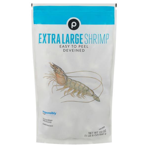 Publix White Shrimp, Extra Large, E-Z Peel, 21-25 Shrimp/Lb, Frozen, Farm Raised