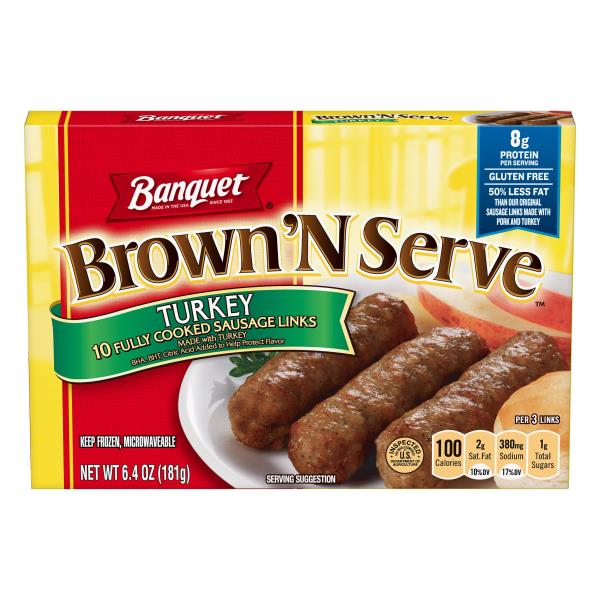 Banquet Brown 'N Serve Sausage Links, Fully Cooked, Turkey