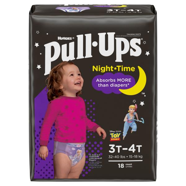 Pull Ups Night-Time Training Pants, for Girls, Size 3T-4T (32-40 lbs), Disney Princess