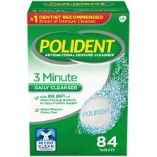 Polident Antibacterial Denture Cleanser, 3 Minute, Tablets, Triple Mint Freshness