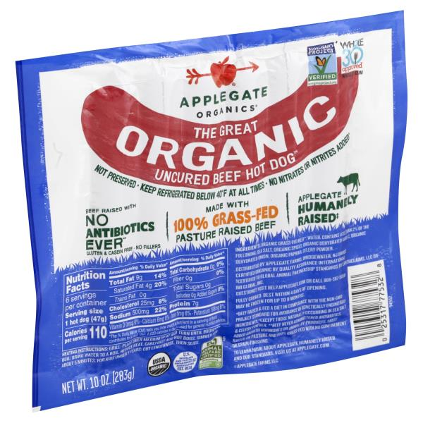 Applegate Hot Dogs, Organic, Uncured Beef