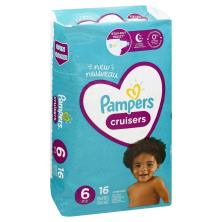 Pampers Cruisers Diapers, Size 6 (35+ lb), Jumbo Pack