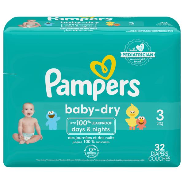 Pampers Baby Dry Diapers, Size 3 (16-28 lb), Sesame Street