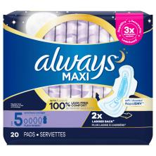 Always Pads, Maxi, with Flexi-Wings, Size 5 (Extra Heavy Overnight)