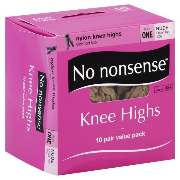 No Nonsense Knee Highs, Nylon, Sheer Toe, Size One, Nude