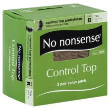No Nonsense Pantyhose, Control Top, Sheer Toe, Size B, Tan