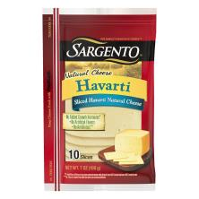 Sargento Cheese, Natural, Havarti, Slices