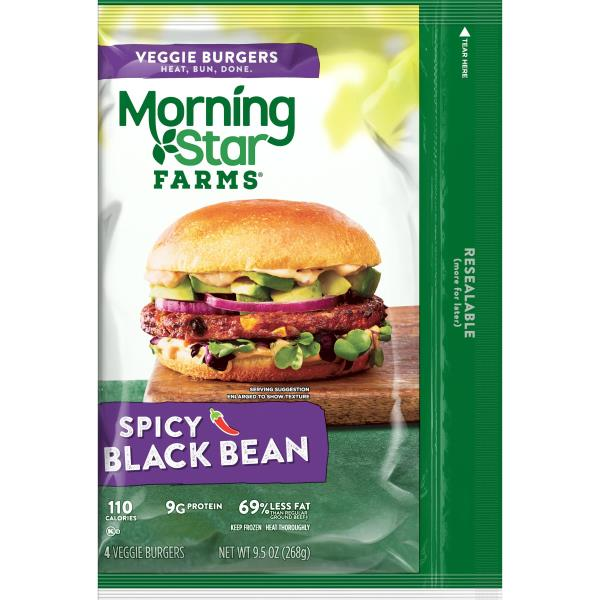 MorningStar Farms Burgers, Veggie, Spicy Black Bean