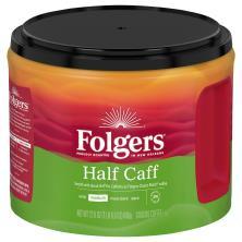 Folgers Coffee, Ground, Medium, Classic Roast, 1/2 Caff