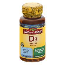 Nature Made Vitamin D3, 25 mcg, Tablets