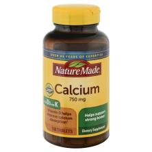 Nature Made Calcium, 750 mg, +D+K, Tablets