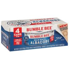 Bumble Bee Tuna, Solid White Albacore, in Vegetable Oil, 4 Pack