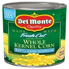 Del Monte Fresh Cut Corn, Golden Sweet, Whole Kernel, 50% Less Sodium