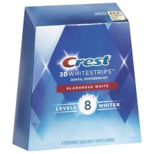 Crest 3D White Dental Whitening Kit, No Slip Whitestrips, Glamorous White