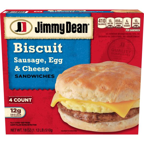 Jimmy Dean Biscuit Sandwiches, Sausage, Egg & Cheese