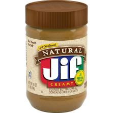 Jif Natural Peanut Butter Spread, Creamy