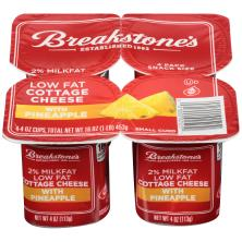 Breakstones Cottage Cheese, Small Curd, 2% Milkfat, Lowfat, with Pineapple, Snack Size