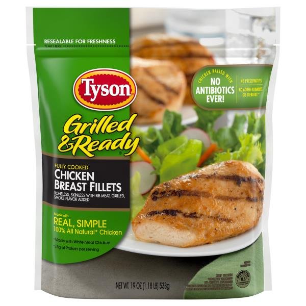 Tyson Grilled Amp Ready Fully Cooked Grilled Chicken Breast Fillets Frozen Publix Com