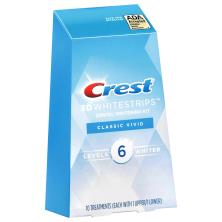 Crest 3D White Dental Whitening Kit, No Slip Whitestrips, Classic Vivid