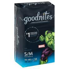 GoodNites Bedtime Pants, S-M, 4-8 (38-65 lbs), Marvel