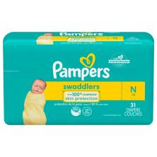 Pampers Swaddlers Diapers, Size N (Less than 10 lb), Blankie Soft Heart Quilts, Jumbo Pack