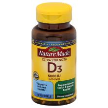 Nature Made Vitamin D3, Ultra Strength, 5000 IU, Softgels
