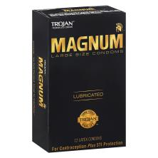 Trojan Magnum Condoms, Premium Latex, Lubricated, Large Size