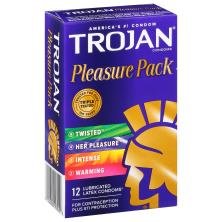 Trojan Condoms, Premium Latex, Lubricated, Pleasure Pack