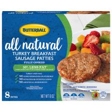 Butterball Natural Inspirations Sausage, Turkey, Breakfast, Patties