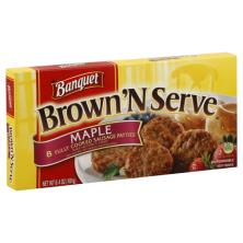 Banquet Brown 'n Serve Sausage Patties, Fully Cooked, Maple
