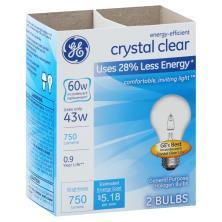 GE Light Bulb, Halogen, Crystal Clear, 43 Watts