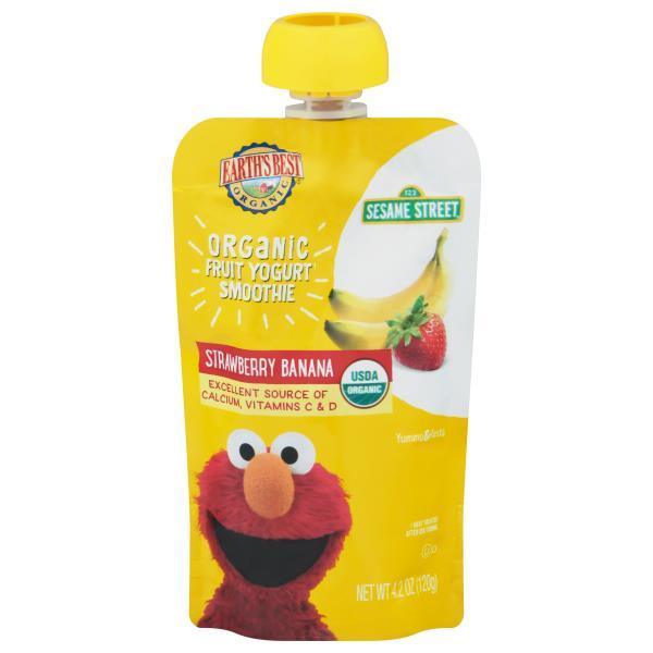 Earths Best Organic Yogurt Smoothie, Organic Fruit, Strawberry Banana, 123 Sesame Street