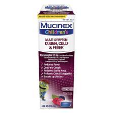 Mucinex Children's Cold & Fever, Multi-Symptom, Liquid, Berry Blast Flavor