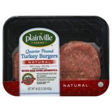 Plainville Farms Burgers, Turkey, 94% Lean/6% Fat, Quarter Pound