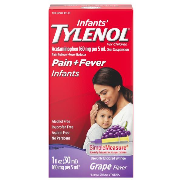 Tylenol Infants' Pain + Fever, Infants, Oral Suspension, Grape Flavor