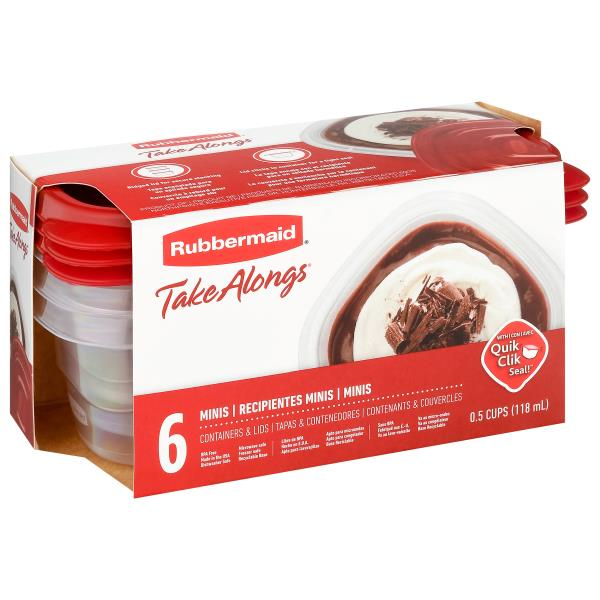 Rubbermaid Take Alongs Containers + Lids, Mini Snackers, 0.5 Cup