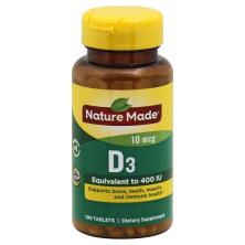 Nature Made Vitamin D3, 10 mcg, Tablets